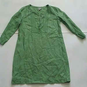 J JILL embroidered bib green linen tunic dress